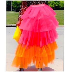 Dresses & Skirts - New! Pink Orange Ruffle Tulle TuTu Maxi Skirt